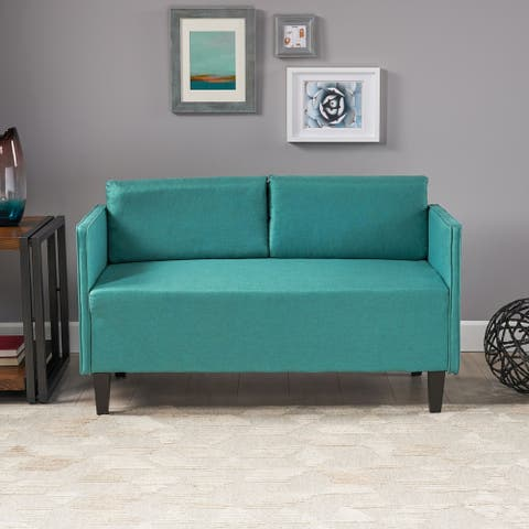 Sullivan Modern Upholstered Fabric Loveseat with Piped Edges by Christopher Knight Home