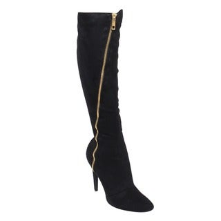 Liliana GF15 Women's Pointy Toe Zip-up Stiletto Heel Knee-High Faux Suede Boots