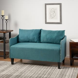 Adira Studded Fabric Loveseat Sofa By Christopher Knight Home