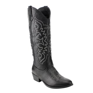 Qupid Women's Tan/Black Faux-leather Western Embroidery Knee-high Chunky Block Heel Boots