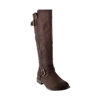 DE Blossom Collection GE18 Women's Buckle-strap Zip-under Knee-High Riding Boots