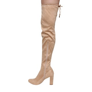 LILIANA GE34 Women's Drawstring Tie Chunky Heel Over Knee High Stretchy Boots