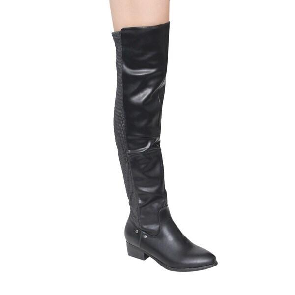 3524034eeef Shop Jacobies GE43 Women s Over Knee-High Low Heel Elastic-back ...