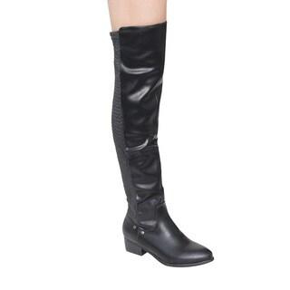 Jacobies GE43 Women's Over Knee-High Low Heel Elastic-back Riding Boots
