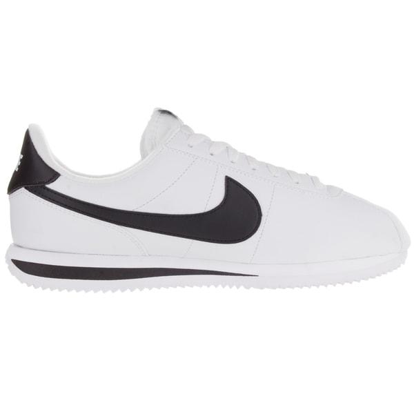 Shop Nike Men's Cortez Basic Leather WhiteBlackMetallic