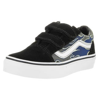 Vans Kids' Old Skool V Glow Flame True Blue and Pewter Suede Skate Shoes