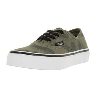 Vans Kids' Authentic Green Canvas Camo Jacquard Skate Shoes