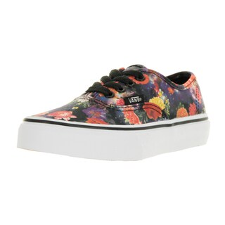 Vans Kids' Authentic Galaxy Floral Black and True White Canvas Skate Shoes