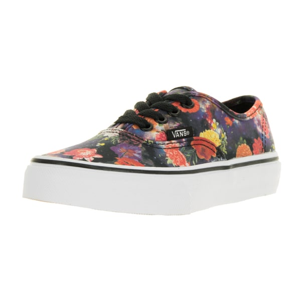 914a2b996a Vans Kids  x27  Authentic Galaxy Floral Black and True White Canvas Skate  Shoes