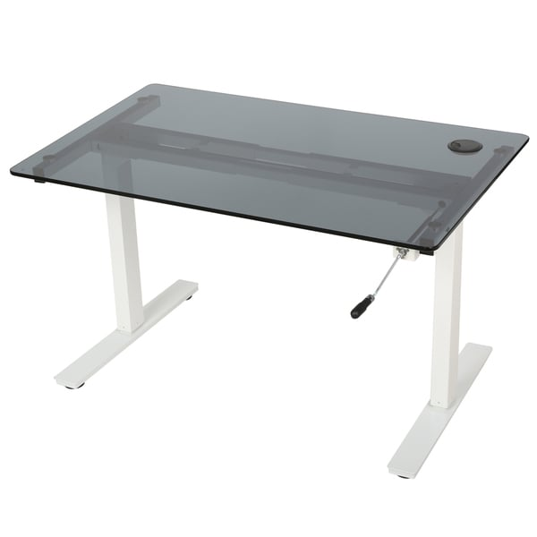 Washington 55-inch Glass Desk with Adjustable Height and Dual Powered