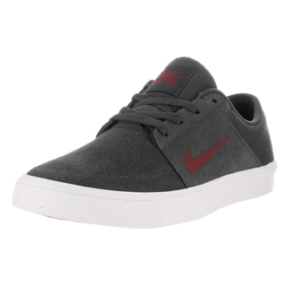 Nike Kids' SB Portmore (GS) Grey and Red Suede Skate Shoes