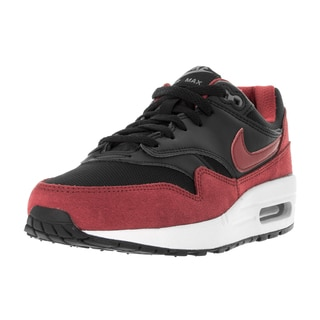 Nike Kids' Air Max 1 (GS) Black, Red, White, and Grey Leather Running Shoes