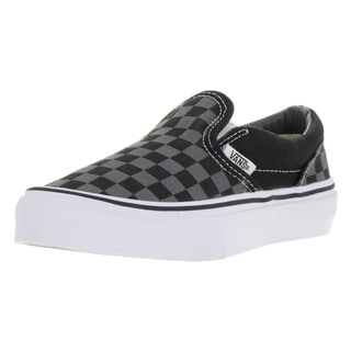 Vans Kids' Black and Pewter Checkboard Canvas Classic Slip-on Skate Shoes