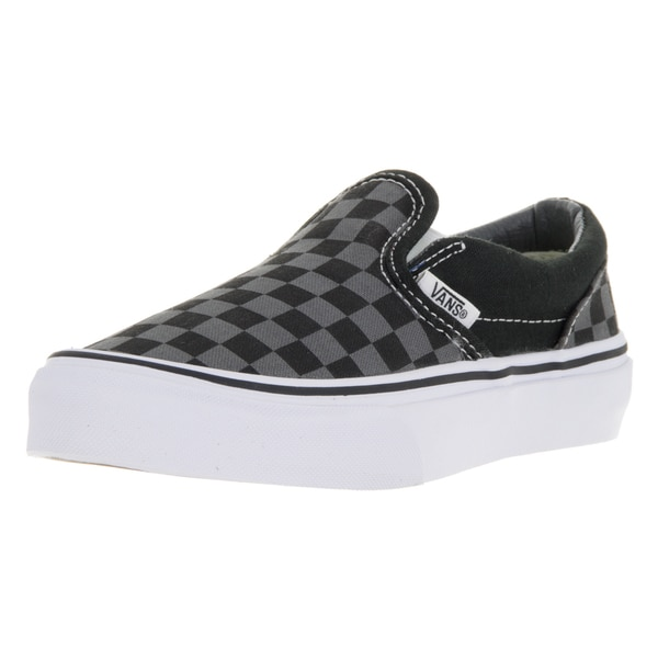 8fb318fcb2 Vans Kids  x27  Black and Pewter Checkboard Canvas Classic Slip-on Skate  Shoes