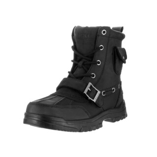 Polo Ralph Lauren Kids' Hamlin Black Leather Mid-calf Booties