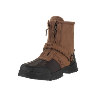 Polo Ralph Lauren Kids' Conquest Tan and Chocolate Brown Leather High Boots