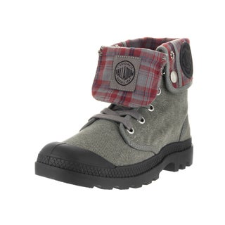 Palladium Kids' Baggy Stonewash Grey Canvas and Metal Boots
