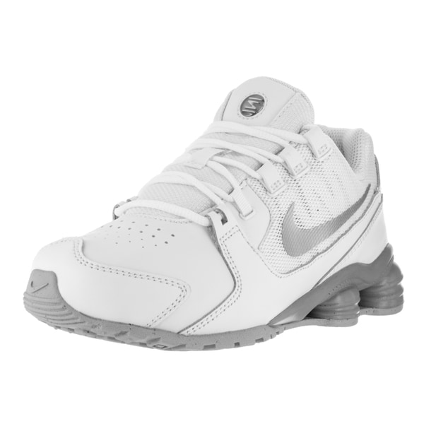 Nike Kids  x27  Shox Avenue (PS) White and Metallic Silver Leather Running 567b65afe