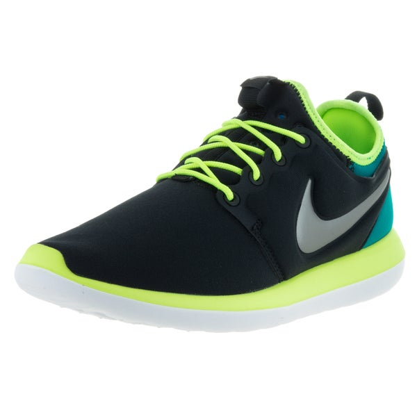 watch 9669c 020e1 Shop Nike Kids  Roshe Two Black, Metallic Pewter, Volt, and Teal Textile Running  Shoes - Free Shipping Today - Overstock - 13394203