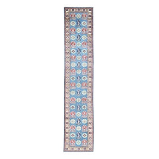 Hand-Knotted Tribal And Geometric Design Kazak Runner Rug (2'8x13'2)