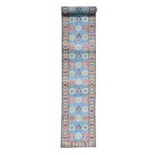 Tribal Design Hand-Knotted Runner Kazak Oriental Rug (2'7x16'7)