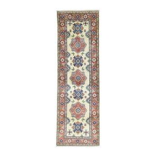 Geometric Design Hand-Knotted Ivory Kazak Oriental Rug (2'7x8'2)