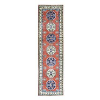 "Geometric Design Hand-Knotted Red Kazak Oriental Runner Rug (2'9""x10')"