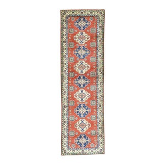 "Geometric Design Kazak Hand-Knotted Oriental Runner Carpet (3'x9'10"")"