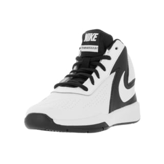 Nike Kids Team Hustle White/Black Plastic Basketball Shoe
