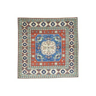 Hand-Knotted Wool Square Kazak Tribal Design Oriental Rug (6'7x6'8)