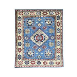 Hand-Knotted Wool Blue Kazak Tribal Design Oriental Rug (6'8x8'1)