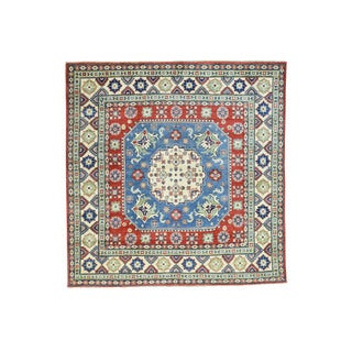 Hand-Knotted Wool Blue Kazak Tribal Design Square Rug (6'10x6'10)