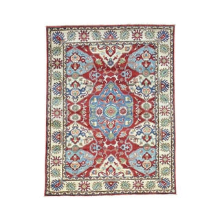 Geometric Design Hand-Knotted Wool Kazak Oriental Rug (4'10x6'6)