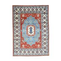 Geometric Design Wool Hand-Knotted Kazak Oriental Rug (5'7x7'9)