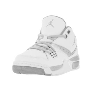 Nike Kid's Jordan Flight 23 White/Metallic Silver Synthetic Leather Basketball Shoes