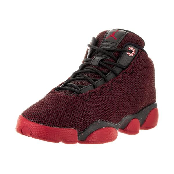 5e7e3b9433b Nike Kids Jordan Horizon Low Black Gym Red White Textile Basketball Shoes
