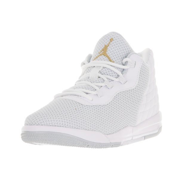 buy popular 47086 c44f1 Nike Jordan Kids  x27  Jordan Academy White and Gold Plastic Basketball  Shoes