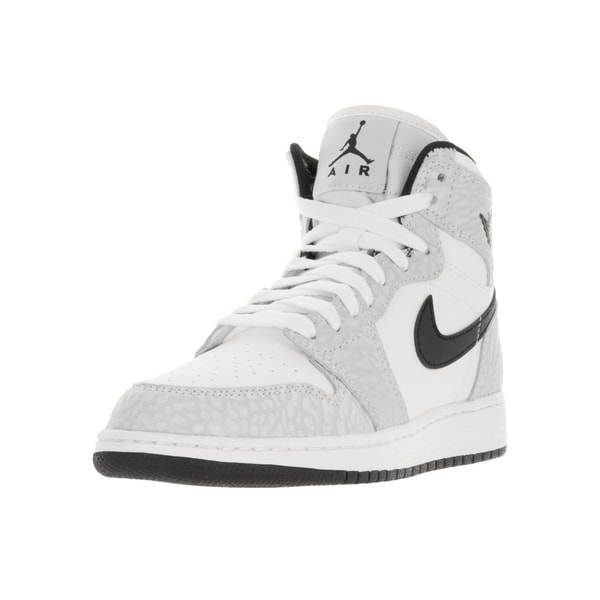 Nike Jordan Kids Air Jordan 1 Black White Grey Synthetic Leather Retro Hi- 729638114