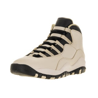 Nike Jordan Kids' Jordan 10 Retro Beige and Black Leather Basketball Shoes
