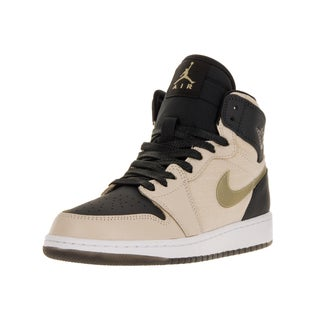 Nike Jordan Kids' Air Jordan 1 Ret Hi Prem Beige, Metallic Gold, Black, and White Leather Basketball Shoes