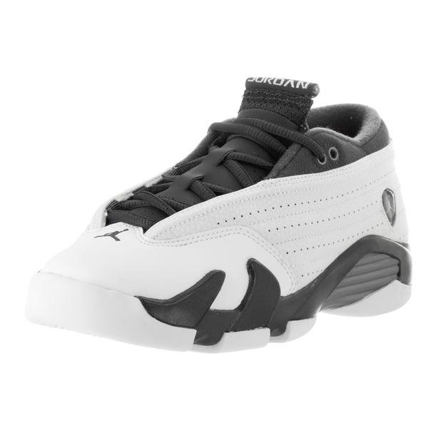 65409b6b371 Shop Nike Jordan Kids' Air Jordan 14 Retro Low White and Grey Leather  Basketball Shoes - Free Shipping Today - Overstock - 13394555