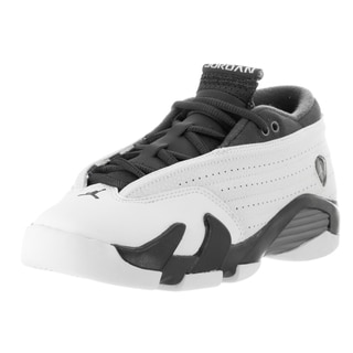 Nike Jordan Kids' Air Jordan 14 Retro Low White and Grey Leather Basketball Shoes