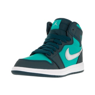 Nike Jordan Kids' Jordan 1 Retro High Jade, Metallic Silver, Turqouise, and White Synthetic Basketball Shoes