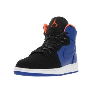 Nike Jordan Kids Air Jordan 1 Black and Blue Leather Retro High-top Basketball Shoes