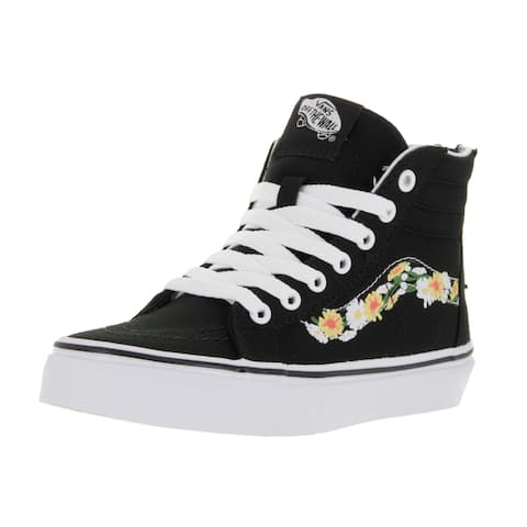 41c48b5f27a Vans Kids  Sk8-Hi Zip (Daisy) Black and White Canvas Skate Shoes