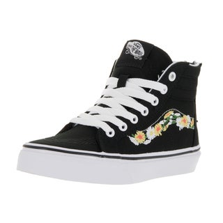 Vans Kids' Sk8-Hi Zip (Daisy) Black and White Canvas Skate Shoes with Multicolored Floral Accent