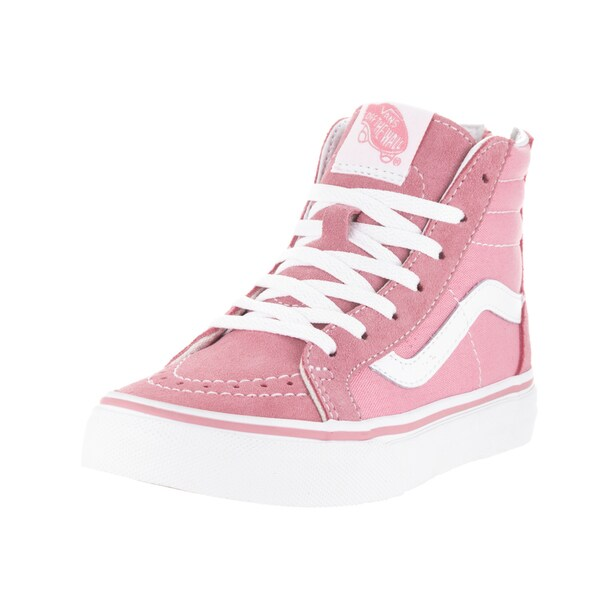 7dca18f31e9765 Shop Vans Kids  Sk8-Hi Zip Pink and White Suede Skate Shoes - Free ...