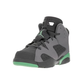 Nike Jordan Kids' Jordan 6 Retro Cement Grey, Green Glow, and Dark Grey Synthetic Leather Basketball Shoes