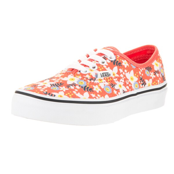 17755836a6 Shop Vans Kids  Authentic Floral Pop Living Coral Canvas Skate Shoe ...