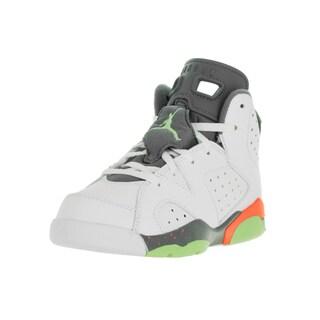 Nike Jordan Kids' Jordan 6 Retro White, Orange, Grey, and Green Synthetic Leather Basketball Shoes
